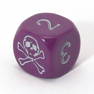 Skull dice - purple with numbers
