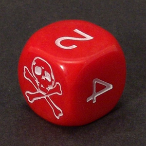 Skull dice - red with numbers