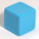 Bright blue indented dice